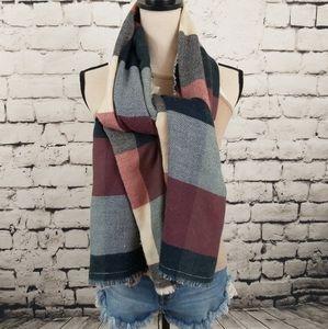 Lucky Brand 2 Sided Wool Blend Lightweight Scarf